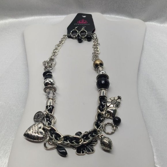 Paparazzi Necklace NWT  Black Silver Charms  Cord